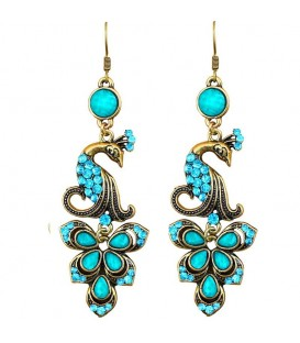 FLOAT AWAY BLUE PEACOCK EARRINGS