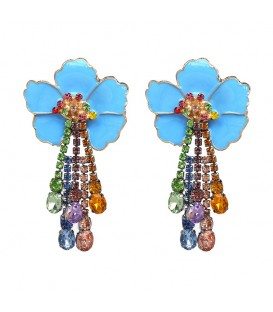 Blue Princess Flower Earrings