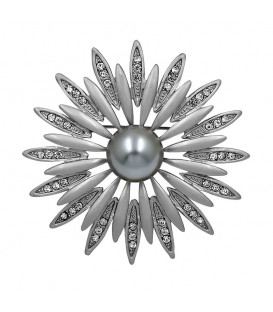 Silver Sun Flower Brooch