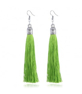 Tassels of Bali Lime Green Drop Earrings