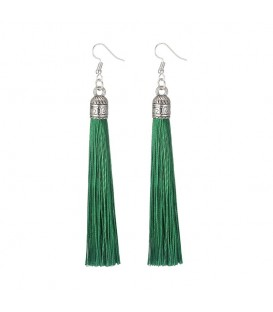 Tassels of Bali Green Drop Earrings