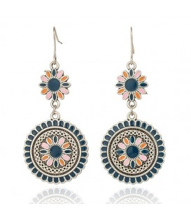Blue Flower Drop Earrings