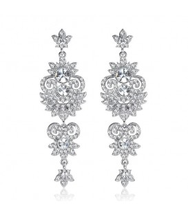Glamourous Silver Bling Earrings