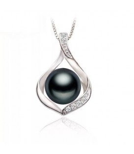 Encased In A Tear Black Pearl Necklace