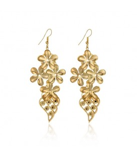 Gold Plated Flower Design Hook Earrings