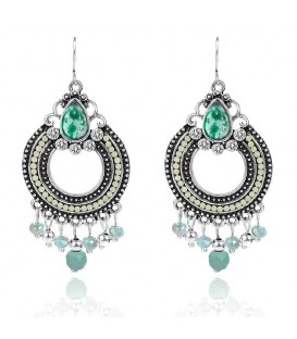 Silver Plated Light Green Clear Beads Crystal Earrings