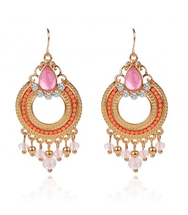 18k Gold Plated Light Pink Clear Beads Crystal Earrings