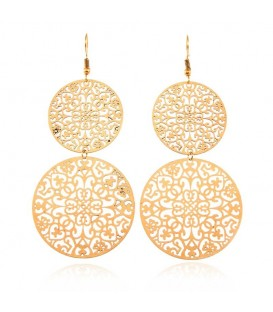 Vintage Style 18K Gold Plated Shiny Filigree Earrings