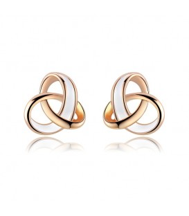 Rose Gold Plated Intersect Design Stud Earrings