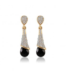 Gold Plated Crystal Tear Drop Long Earrings