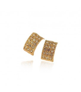 Ornate retro rhinestone gem square earrings
