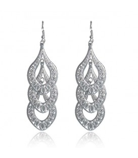 18K White Gold Plated Leaf Design Earrings