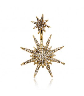 Singular Gold Plated Star Crystal Rhinestone Dangle Earring Drop