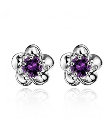 White Gold Plated Purple Rhinestone Flower Studs