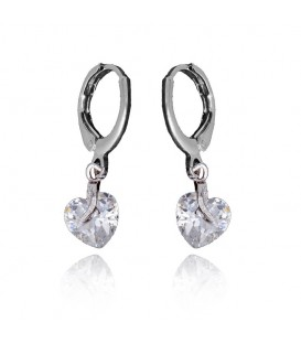 Clear Cubic Zirconia Heart Drop earrings