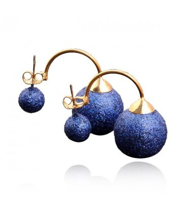 Boucle d'oreille Double Sided Gold Plated Stud Earrings