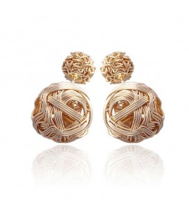 Double Sided Gold Plated Tow Ball Stud Earrings