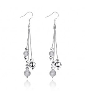 Silver Long Beaded Orecchini Drop Earrings