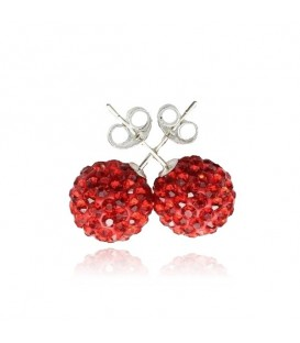 Shamballa Statement Red Stud Earrings