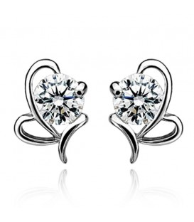 Silver Bow Shaped Stud Earrings