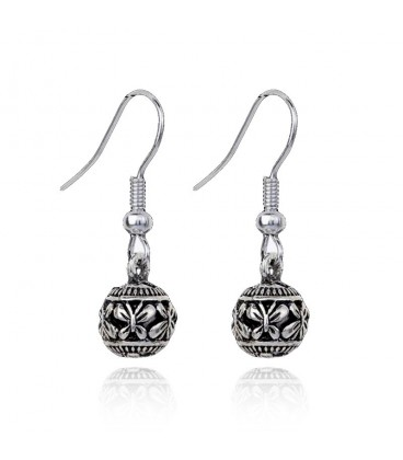 Antique Carved Silver Ball Hollow Earrings