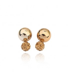 Gold Plated Double Crystal Ball Stud Earrings