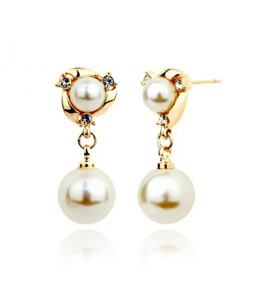 Elegant Vintage Copper Pearl Dangle Earrings