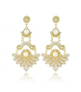Rhinestones Resin Vintage Chandelier Charm Golden Earrings
