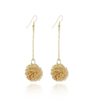 Gold Plated Ball Design Long Earrings