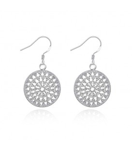 Intricate Circular Silver Hook Earrings