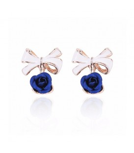 Royal Blue Bow Rose Stud Earrings