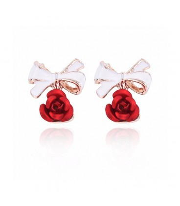Delicate Red Bow Rose Stud Earrings