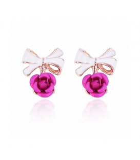 Delicate Violet Bow Rose Stud Earrings
