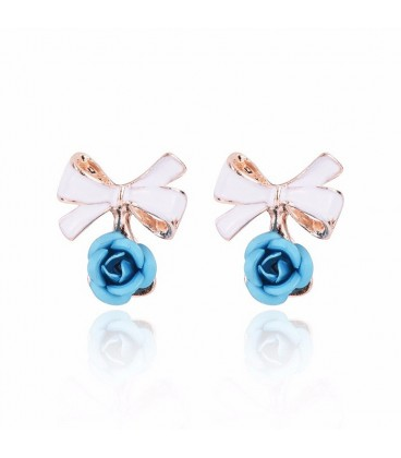 Delicate Sky Blue Bow Rose Stud Earrings