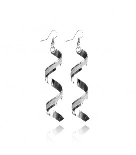 Trendy Spiral Long Twisted Silver Dangle Hook Earrings