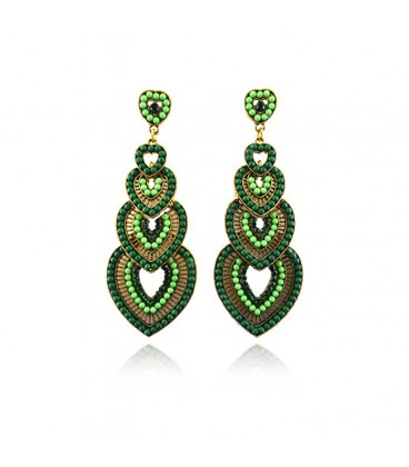 Heart Shaped Vintage Beaded Resin Chandelier Earrings