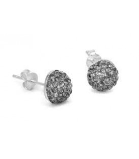 Grey Crystal Button Earrings