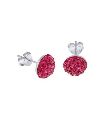 Pink Crystal Button Earrings