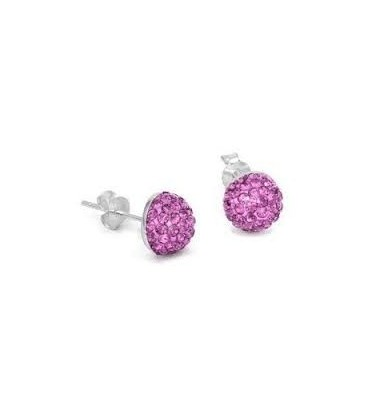 Purple Crystal Button Earrings