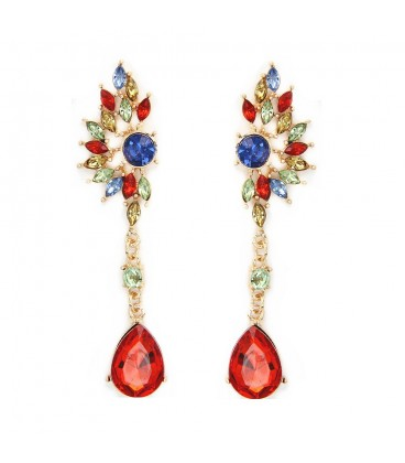 Angel Wing Red/Green Austrian Crystal Drop Earrings