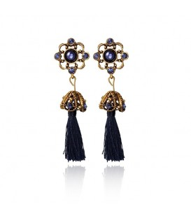 Blue Crystal Long Tassel Earrings