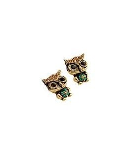 Vintage Owl Crystal Stud Earrings