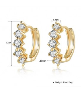 18K Gold plated Austrian Crystal Beautiful Semi Hoop Earrings