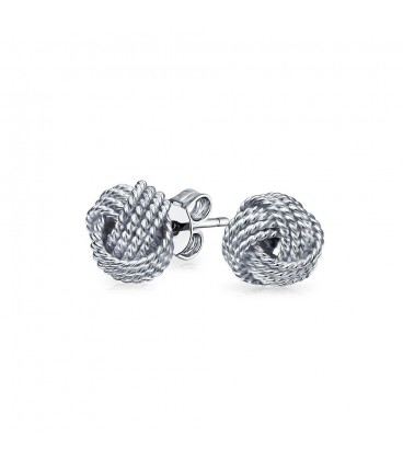 Sterling Silver Twist Wire Knot Earrings