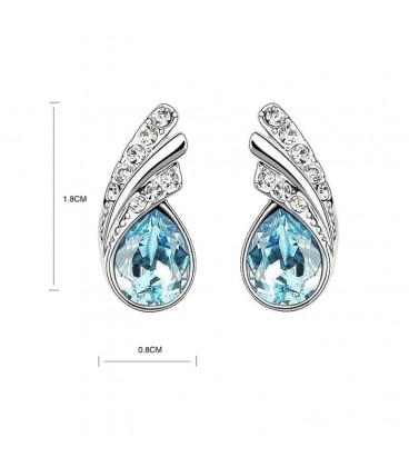 Austrian Crystal and Rhinestone Leaf Stud Earrings
