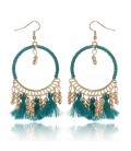 Beaded Tassel Dangle Earrings